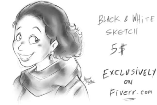 sketch your portrait slightly cartoony in this style