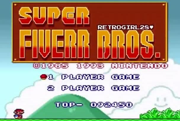 put your message on Super Mario Bros 8 bit video game scene