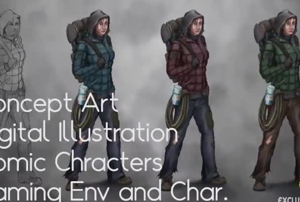 professionally draw any concept character illustration