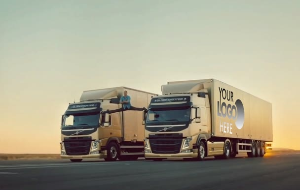 add your Logo to a Volvo Truck where Split Van Damme
