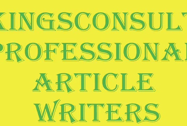 write An OUTSTANDING 500 Words Article In 24hrs