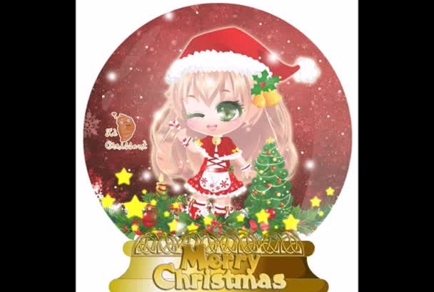 draw a Christmas Chibi in Snow Globe with falling snow