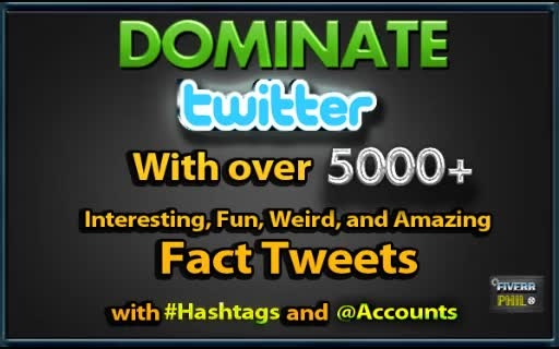 help you DOMINATE Twitter Fact niche with over 5000 Fact Tweets with hashtag
