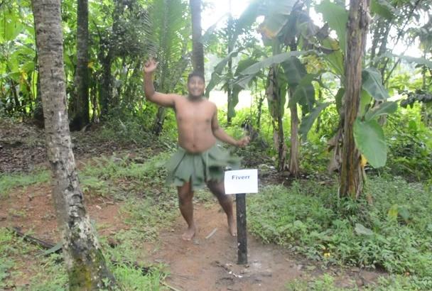 make a video of funny jungle boy singing happy birthday day