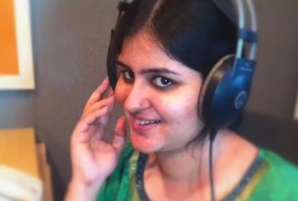 record a female voice over in Indian accent, today