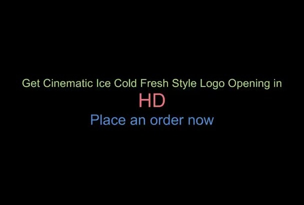 create cinematic fresh ice cold style logo reveal with custom message to Promote ur business or website brand opener