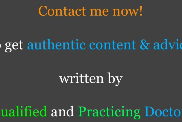 write health and medical related articles