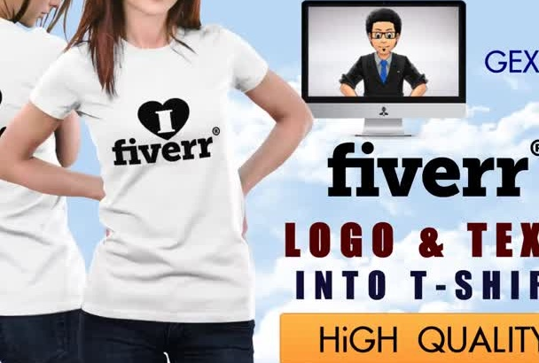 add your LOGO and Text on a TShirt Design