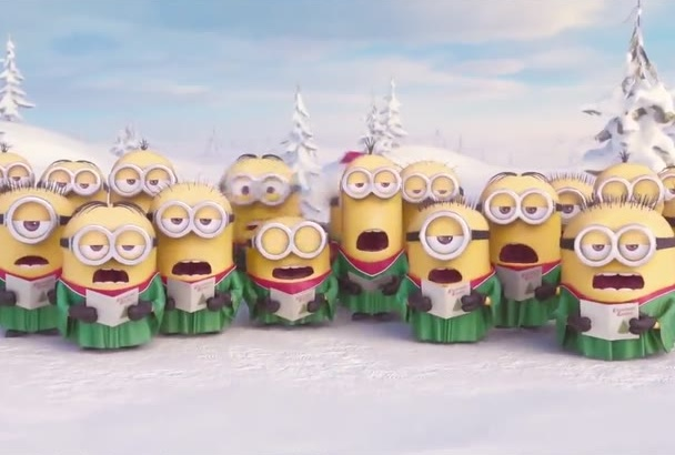 minions Christmas Video with your Text or  Logo in 1day