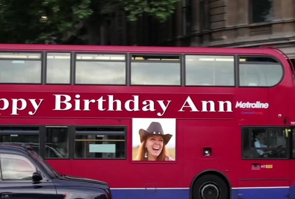 create a Happy Birthday or Valentines Day love message video on a London bus