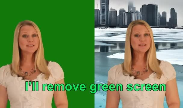 remove green screen in any video