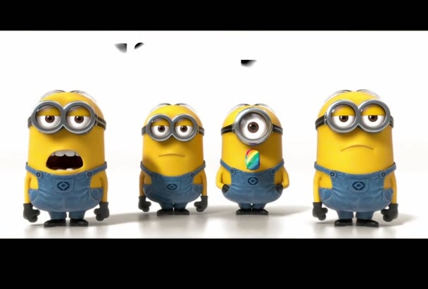 make minions banana song video with your logo on background