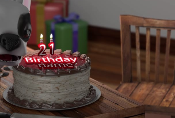create a Happy Birthday greeting Video in 3D for You