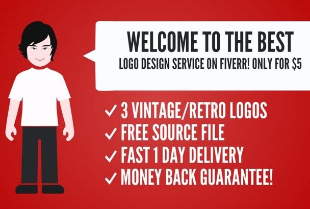 do 3 retro vintage logo super fast