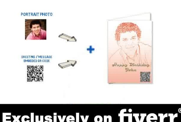 create awesome Greeting Card with portrait photo and QR code