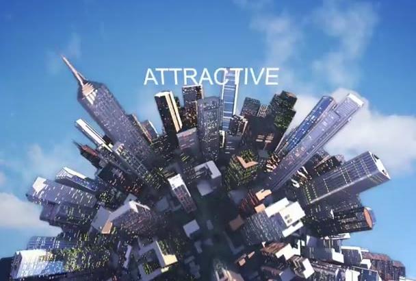 produce 3D city, fancy video intro logo animation