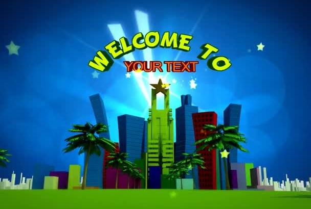 make promo video flying through animated cartoon city
