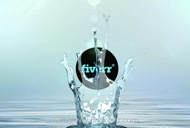 do unique water clean splash logo intro