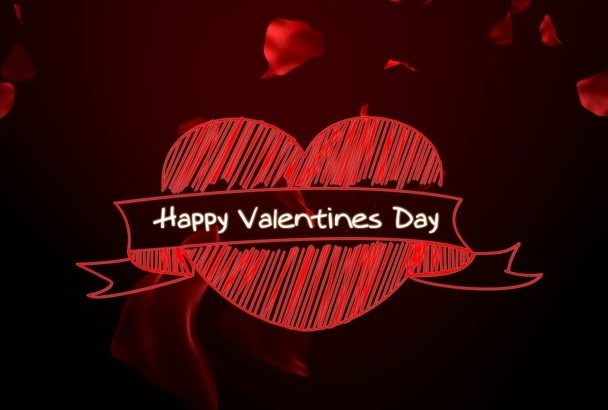 create valentines day video intro in FALLING rose petals