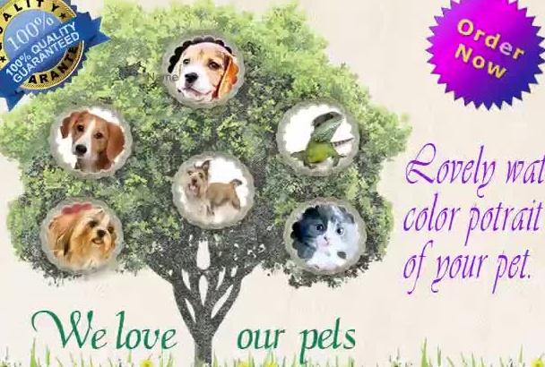 paint a watercolor PORTRAIT of your pet
