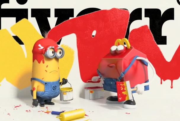 put your logo, text in this funny Minions painting video