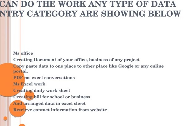work  on all type of data entry work