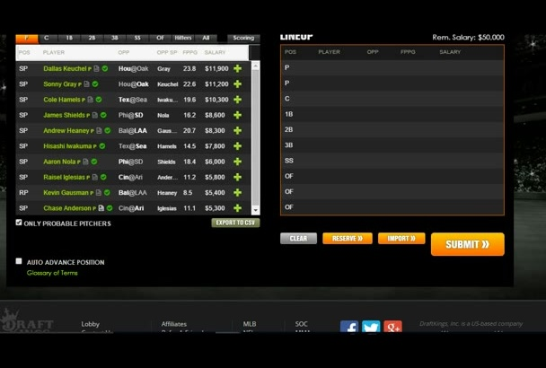 optimize a DRAFTKINGS baseball lineup