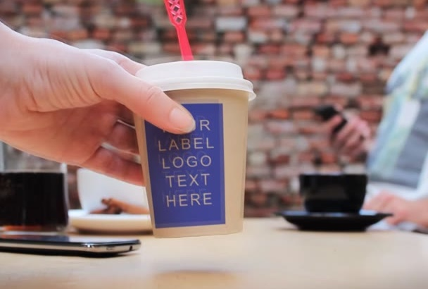 place any text or logo to this coffee cup commercial video