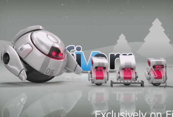 create a Cute Christmas Robots animation