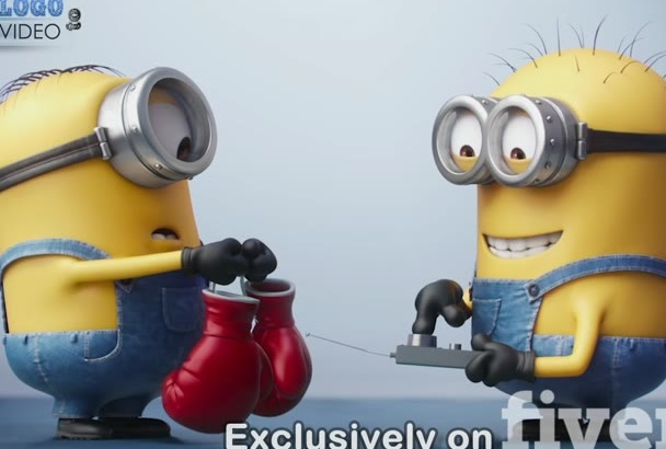 do this funny minion box fight with your logo, text,url