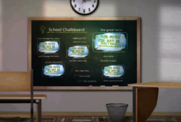 create a professional video school chalkboard animation