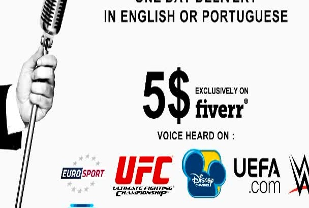 record PROFESSIONAL English or Portuguese voice over, in less than 24h