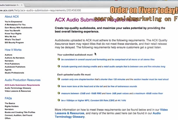 master your AudioBook files so they meet ACX Guidelines