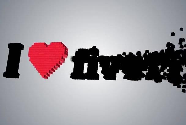 create hi tech 3D mosaic video logo intro
