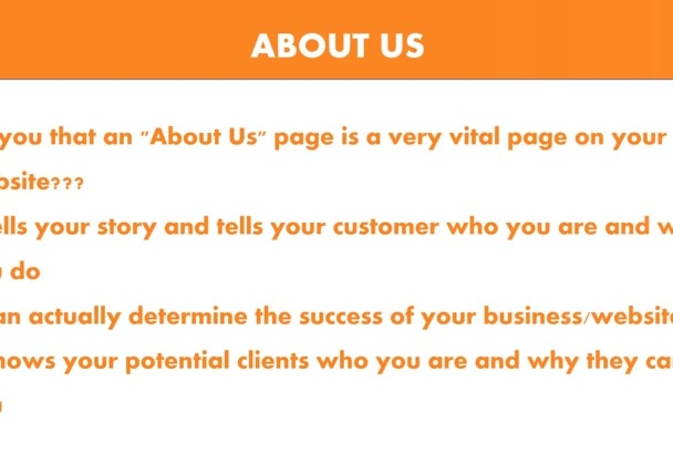 write a Fantastic and Captivating ABOUT Us Page For Websites
