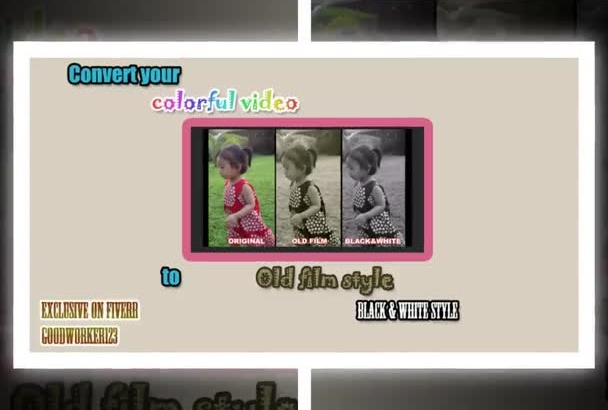 convert your colorful video to old film style or black n white video