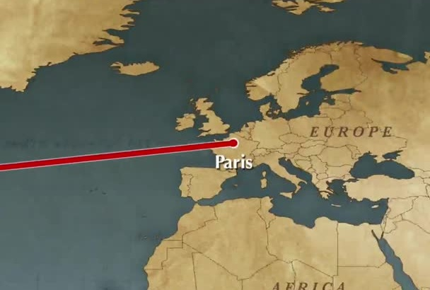 create a MAP video animation for travel distances