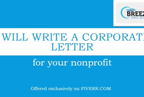 write a corporate letter for your nonprofit
