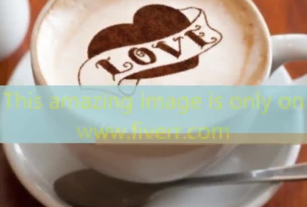 put Text, Logo, Image in the froth of a cup of cappuccino coffee cup