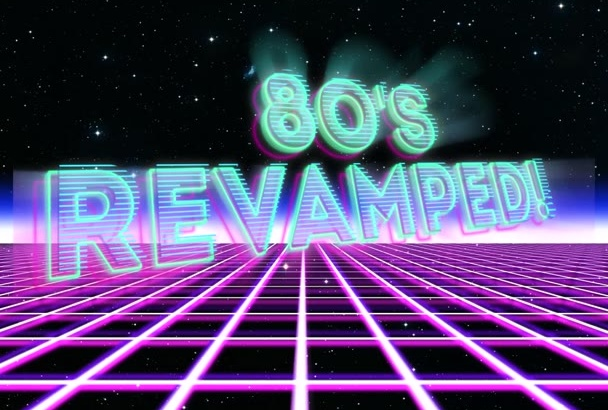 make this short 80s style intro with your text or logo