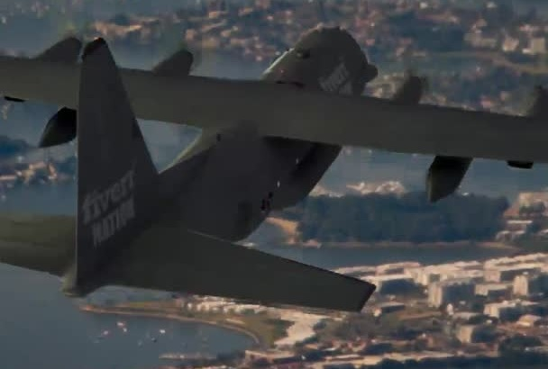 throw your flyers from a military jet with your logo on it
