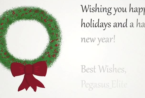 make a holiday e card with an animated wreath drawing