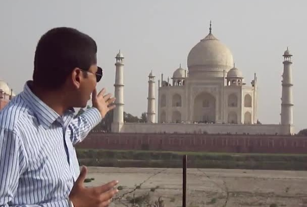 record a video at Taj Mahal