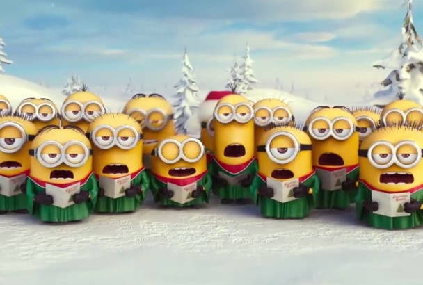 put your text and logo in this Minions Happy New Year video