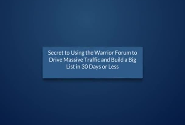 give you internet marketing course SECRET to Massive Traffic and a Big List plr