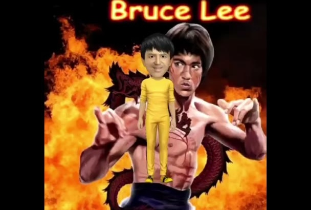 do your face in video 3D cartoon animation style bruce lee