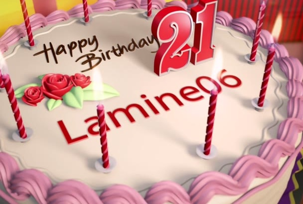 make a 3D happy birthday cake video with Music background