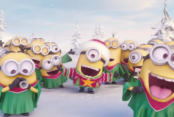put your text and logo in this Christmas Minion Jingle Video