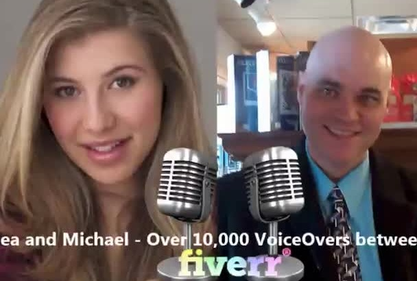 create a Professional Female Male Duo Voiceover