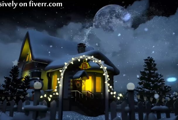 make a Christmas tree and snowball greetings animation